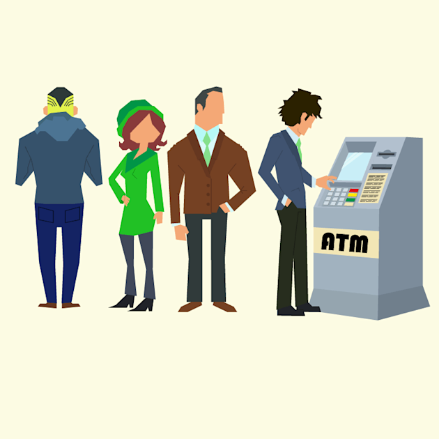 People standing in queue for ATM withdrawals