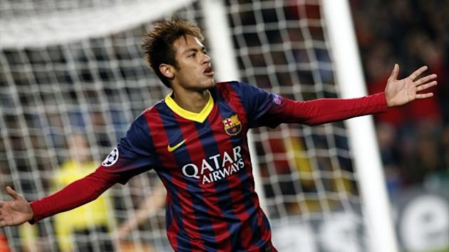Barcelona's Neymar celebrates after scoring a goal against Celtic during their Champions League soccer match at Camp Nou stadium in Barcelona December 11, 2013 (Reuters)