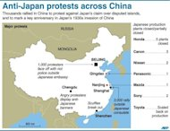 Graphic showing major anti-Japan protests across China. A swathe of Japan's biggest corporate names padlocked factories in China as violent anti-Japan protests sparked safety fears, and threatened economic ties worth more than $300 billion a year