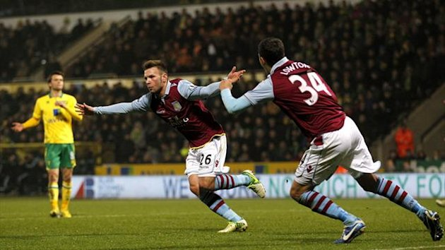 Aston Villa's Austrian striker Andreas Weimann celebrates scoring a goal against Norwich City