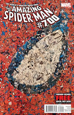 "This undated photo provided by Marvel Comics shows the cover of the 700th and final issue in the comic book series ""The Amazing Spider-Man,"" issued Wednesday, Dec. 26, 2012. The series ends as Peter Parker meets his doom. But Spider Man's adventures will continue with the debut of ""Superior Spider-Man"" in January 2013. (AP Photo/Marvel Comics)"