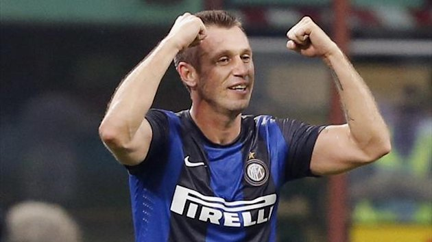 Inter Milan's Antonio Cassano celebrates scoring (Reuters)