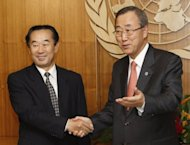 UN leader Ban Ki-moon pressed for more cooperation when he met North Korea's vice-foreign minister, Pak Gil-yon (L), in New York last month