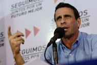 The governor of the Venezuelan state of Miranda, Henrique Capriles, speaks during a press conference in Caracas on January 8, 2012. Venezuela's top opposition leader urged the Supreme Court to rule on whether cancer-stricken President Hugo Chavez's re-inauguration can be postponed, as his government argues