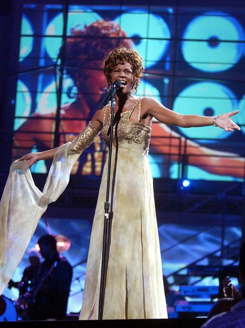 Singer Whitney Houston is seen performing on stage during the 2004 World Music Awards at the Thomas and Mack Center on September 15, 2004 in Las Vegas, Nevada. (Photo by Kevin Winter/Getty Images)