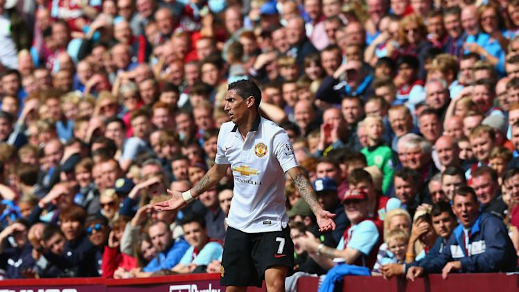 Maria of manchester united reacts during the barclays premier league
