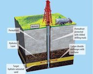 An illustration of a field trial testing technology to produce natural gas from methane hydrates in Alaska.