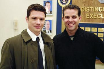 Ryan Phillippe and the real Eric O'Neill on the set of Universal Pictures' Breach