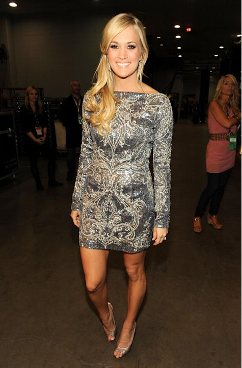 Carrie Underwood in a metallic shift