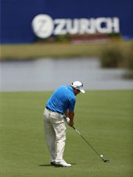 AVONDALE, LA - APRIL 24: Andrew Svoboda takes his second shot on the 18th during Round One of the Zurich Classic of New Orleans at TPC Louisiana on April 24, 2014 in Avondale, Louisiana. (Photo by Chris Graythen/Getty Images)