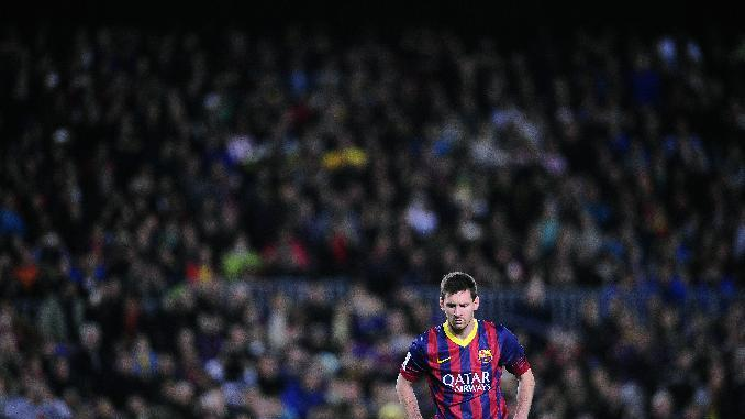 FC Barcelona's Lionel Messi, from Argentina, during a Spanish La Liga soccer match against Athletic Bilbao at the Camp Nou stadium in Barcelona, Spain, Sunday, April 20, 2014