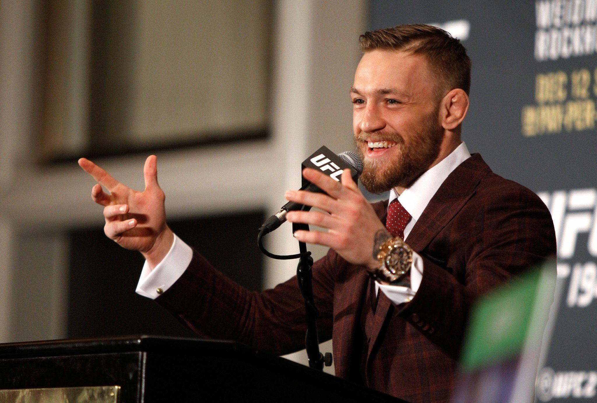 Conor McGregor speaking with the press.