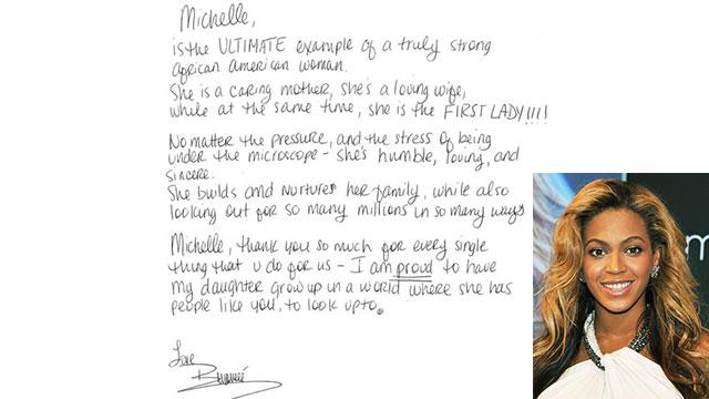 Beyonce's Handwritten Note to Michelle Obama