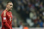 Bayern Munich's French midfielder Franck Ribery reacts during the German first division football match against Schalke 04 in Munich, southern Germany, on February 9, 2013