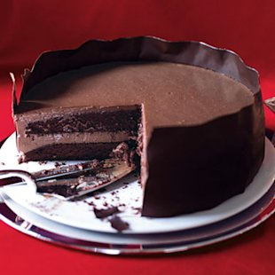 Chocolate Panna Cotta Layer Cake. Photo by Con Poulos