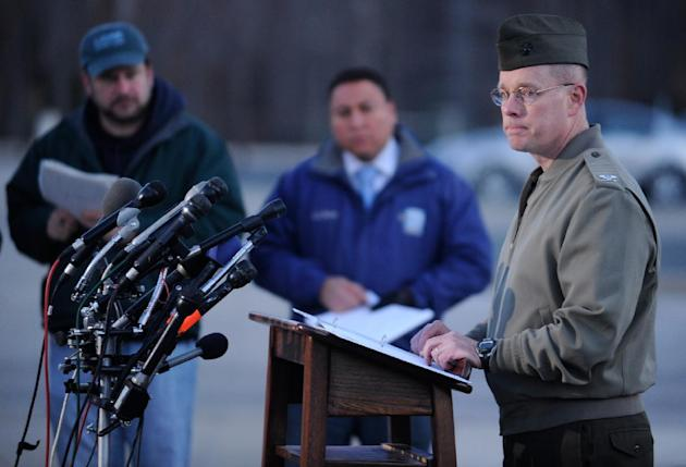 Col. David W. Maxwell holds a press conference at the Marine Corps Museum in Quantico, Va., on Friday, March 22, 2013 regarding a murder/suicide that occurred on Thursday night that resulted in the de
