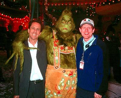 Producer Brian Grazer , The Grinch ( Jim Carrey ) and director Ron Howard on the set of Universal's Dr. Seuss' How The Grinch Stole Christmas