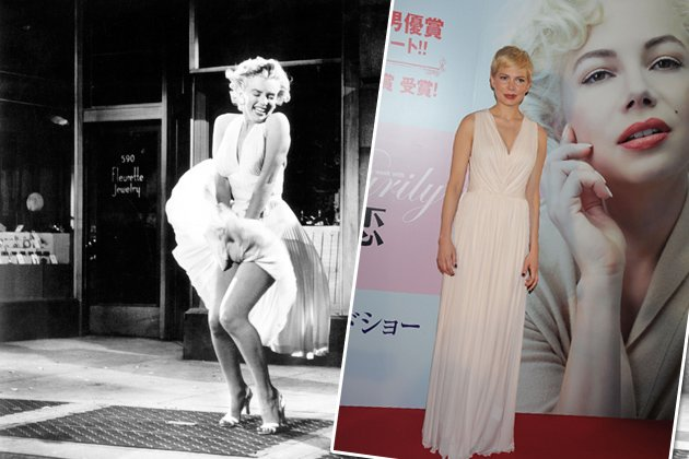 Sieht (fast) aus wie Marilyn: Michelle Williams in Tokyo (Bilder: WENN, Getty Images)