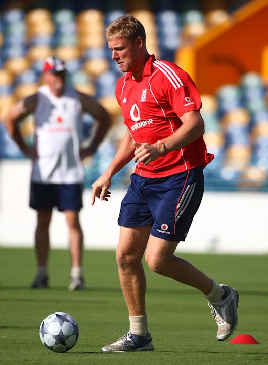 BRIDGETOWN, BARBADOS - MARCH 24:  England cricketer Andrew Flintoff plays football during a fitness training morning at The Kensington Oval on March 24, 2009 in Bridgetown, Barbados.  (Photo by Julian