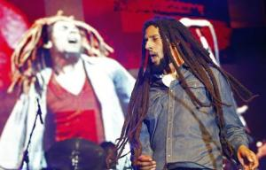 Julian Marley performs at a concert celebrating his …