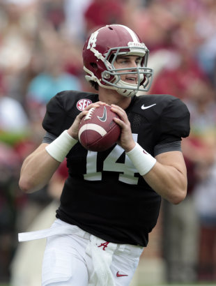 Alabama quarterback Jacob Coker (14) rolls out to pass during the first half of Alabama's spring NCAA college football game, Saturday, April 18, 2015, in Tuscaloosa, Ala. (AP Photo/Butch Dill)