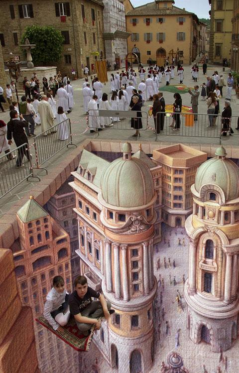 'The Flying Carpet' by Kurt Wenner - Kids, please don't do that at home!!