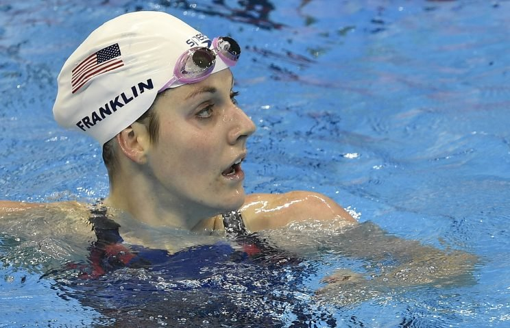 Missy Franklin checks her time after a 200-meter freestyle heat on Monday (AP)