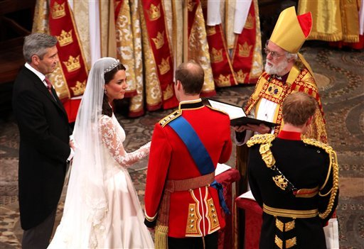 Imagen de la ceremonia matrimonial del príncipe William y Kate Middleton. FOTO AP