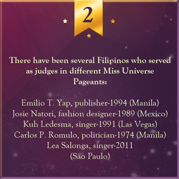 2. There have been several Filipinos who served as judges in different Miss Universe Pageants: