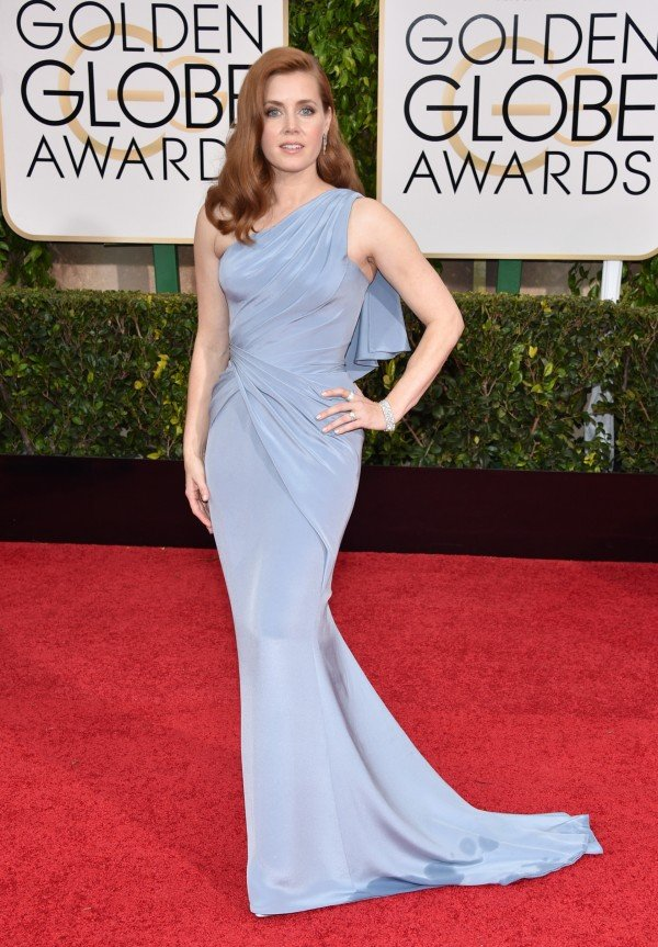 Amy Adams arrives at the 72nd annual Golden Globe Awards
