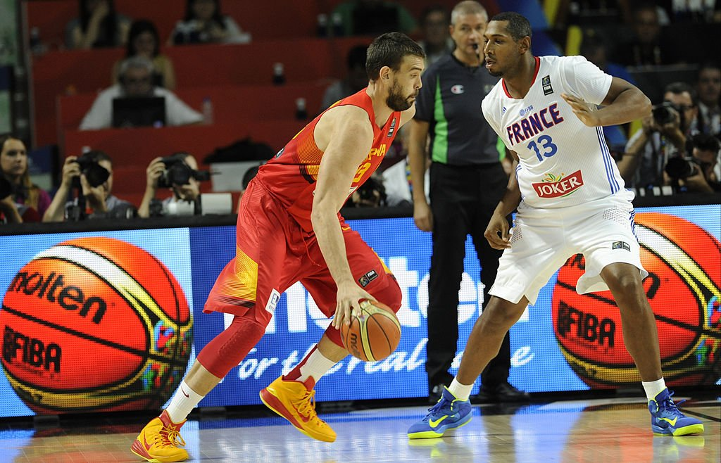 Spain's Marc Gasol drives against Boris Diaw of France during the 2014 FIBA Basketball World Cup. (Europa Press/Europa Press via Getty Images)
