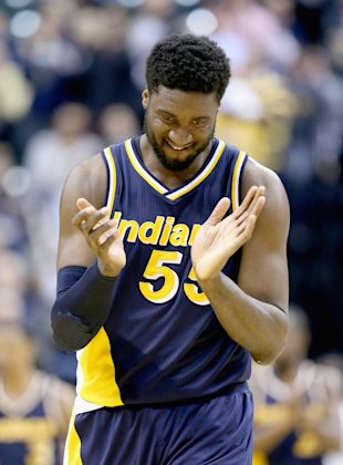 INDIANAPOLIS, IN - FEBRUARY 27:  Roy Hibbert #55 of the Indiana Pacers celebrates during the game against the Cleveland Cavaliers on February 27, 2015 in Indianapolis, Indiana.   NOTE TO USER: User expressly acknowledges and agrees that, by downloading and or using this Photograph, user is consenting to the terms and conditions of the Getty Images License Agreement.  (Photo by Andy Lyons/Getty Images)