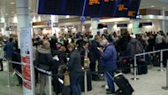Travellers faced delays Friday at Montreal-Trudeau airport following Thursday's record-breaking storm.