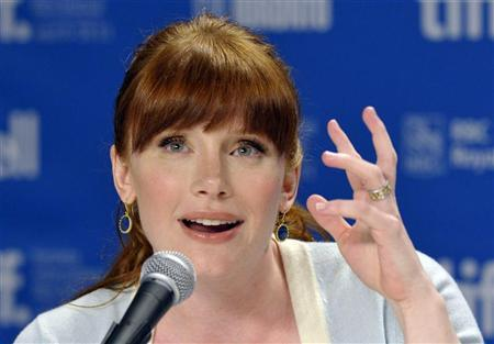 "Actress Bryce Dallas Howard gestures during the news conference for the film ""50/50"" at the 36th Toronto International Film Festival"