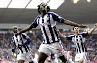 West Bromwich Albion's Romelu Lukaku (C) celebrates scoring a goal against Sunderland during their English Premier League match at the Stadium of Light in Sunderland, north-east England, on November 24. West Brom play Arsenal next, at the Emirates Stadium, on Saturday