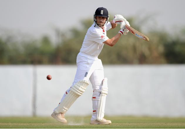 Jonathan Trott of England bats during the tour match between England and Haryana at Sardar Patel Stadium ground B on November 8, 2012 in Ahmedabad, India. (Photo by Gareth Copley/Getty Images)