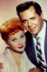 Lucille Ball pictured with her then husband and co-star, Desi Arnaz.