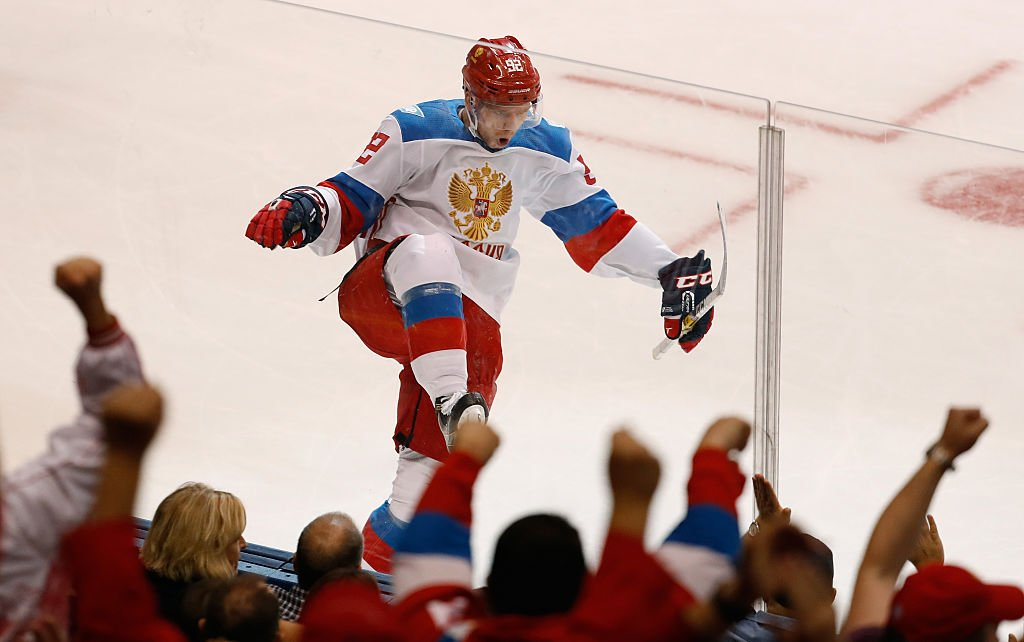 TORONTO, ON - SEPTEMBER 19: Evgeny Kuznetsov #92 of Team Russia celebrates a second period goal while playing Team North America during the World Cup of Hockey at the Air Canada Center on September 19, 2016 in Toronto, Canada. (Photo by Gregory Shamus/Getty Images)