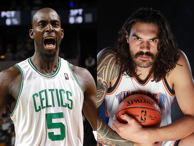 Kevin Garnett and Steven Adams get serious. (Getty Images)