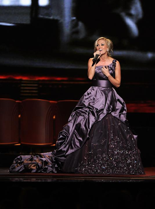 Carrie Underwood in a purple gown