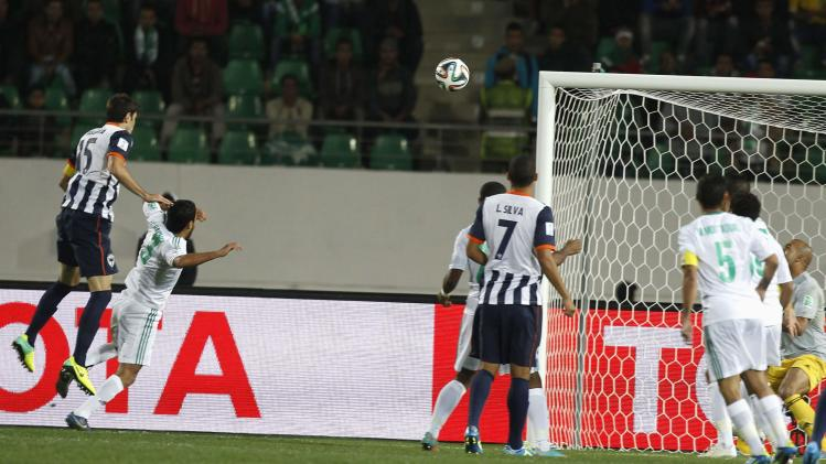 Basanta of Mexico's Monterrey scores a goal against Morocco's Raja Casablanca during their FIFA Club World Cup soccer match at Agadir Stadium in Agadir