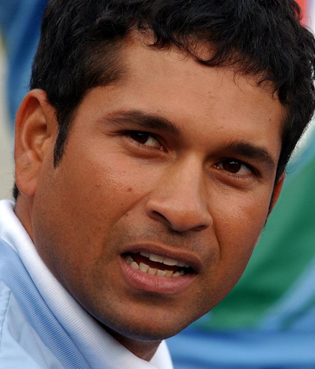 Injured Indian Sachin Tendulkar watches the first