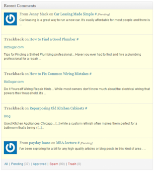 Understanding and Customising the WordPress Dashboard image recent comments 003 578x642