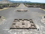 The Avenue of the Dead in the ancient city of Teotihuacan gives a sense of this Mesoamerican cultural center's enormous monuments.