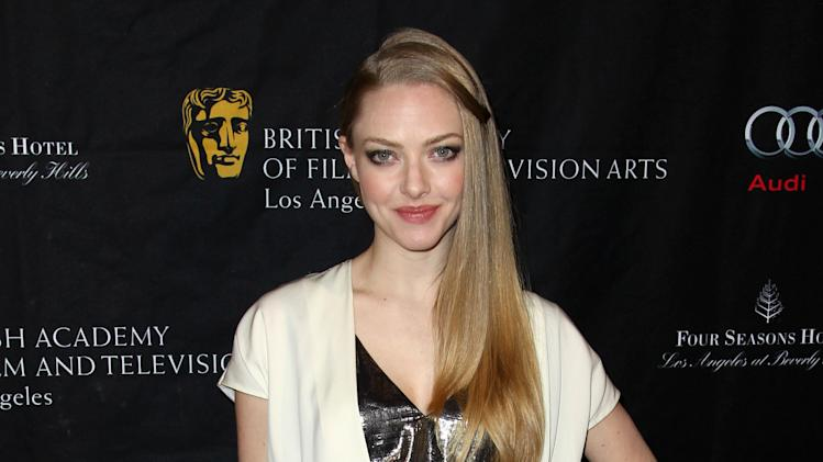 Actress Amanda Seyfried arrives at the BAFTA Awards Season Tea Party at The Four Seasons Hotel on Saturday, Jan. 12, 2013, in Los Angeles. (Photo by Matt Sayles/Invision/AP)