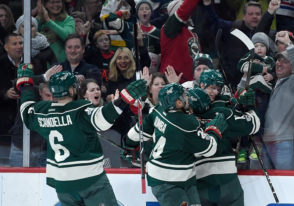 ST PAUL, MN - JANUARY 12: The Minnesota Wild celebrates a goal by Eric Staal #12 against the Montreal Canadiens during the second period of the game on January 12, 2017 at Xcel Energy Center in St Paul, Minnesota. (Photo by Hannah Foslien/Getty Images)