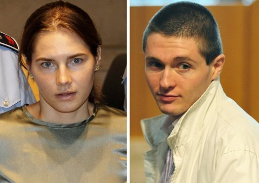 This combination photo shows Amanda Knox and her former boyfriend Raffaele Sollecito during their trial in Perugia. Italy's top court will rule Tuesday on whether US student Knox should face a retrial over the murder of her British housemate or whether to close the case for good, despite unanswered questions about a second mystery killer.