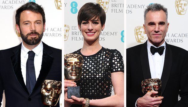 Speech therapy... Ben Affleck, Anne Hathaway and Daniel Day-Lewis (Credit: PA)