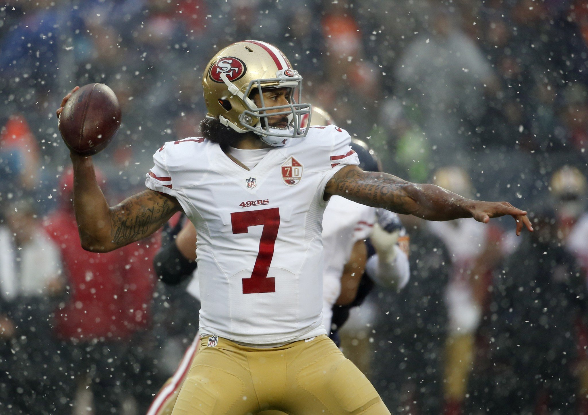 Colin Kaepernick was benched in the fourth quarter against the Chicago Bears.