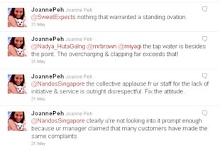 Joanne Peh rants online over bad service at Nando's. (Screengrab from Peh's Twitter account)